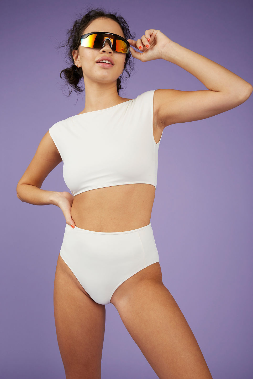 Model front image of Monki high-waisted bikini briefs in white