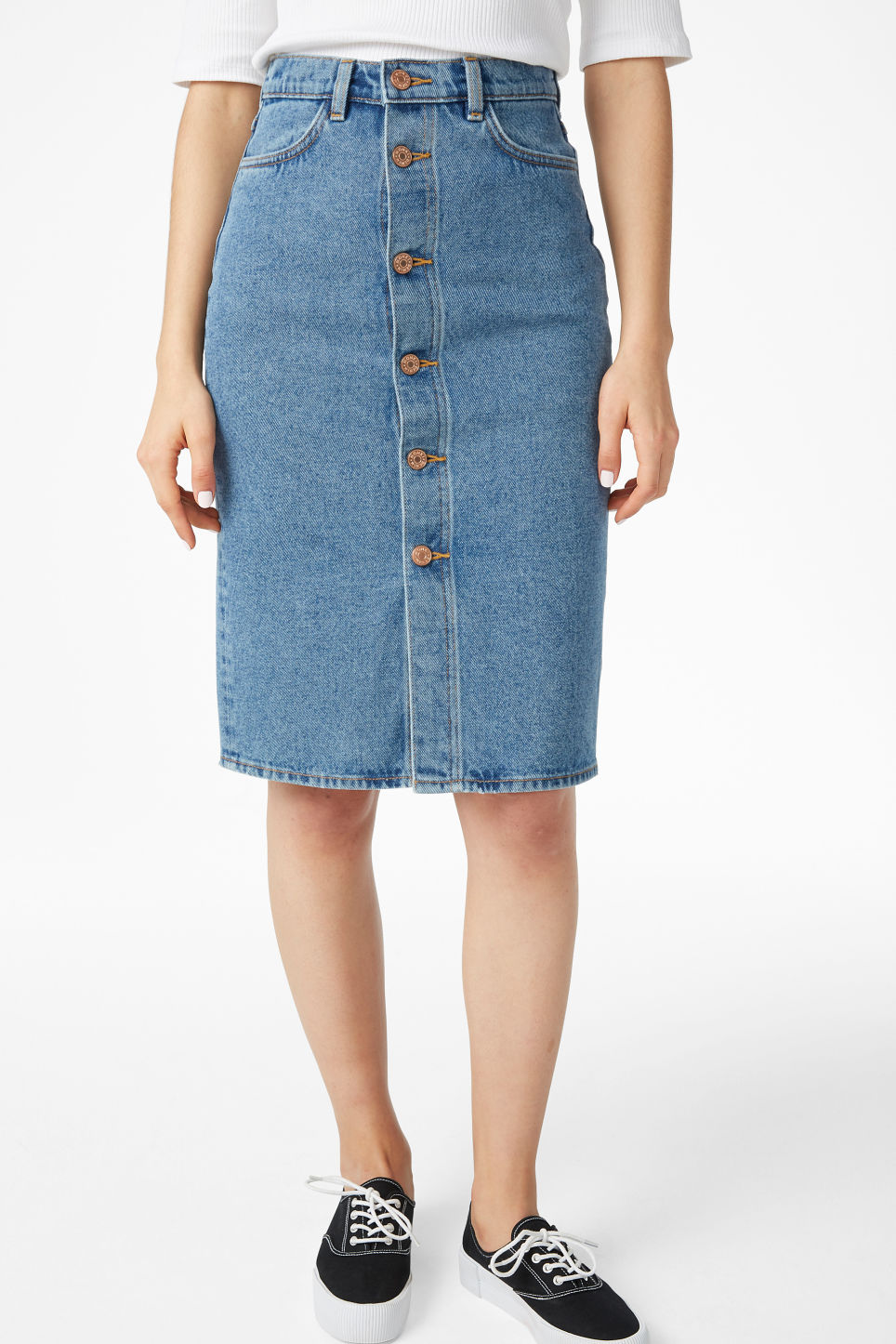 Model side image of Monki long denim skirt in blue