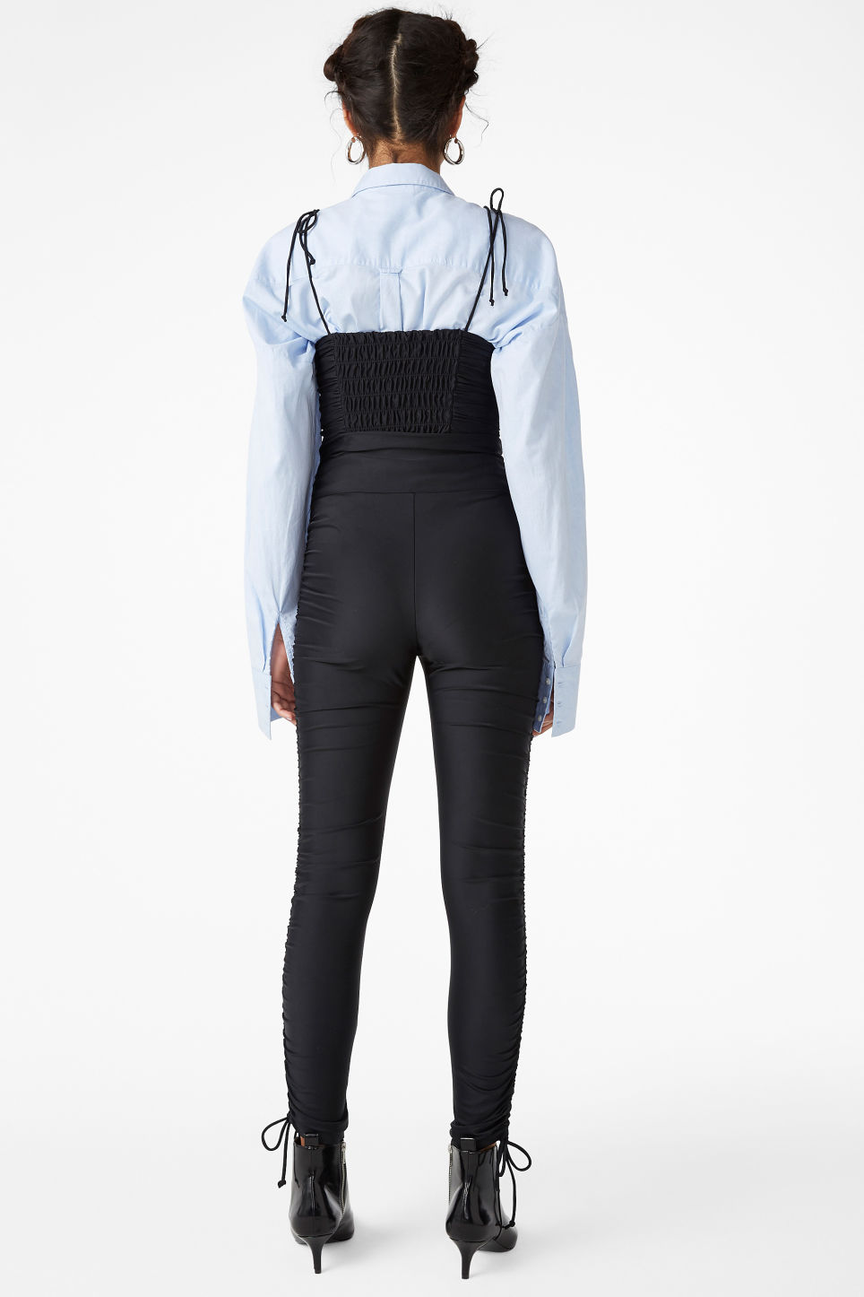 Model back image of Monki ruffled tights in black