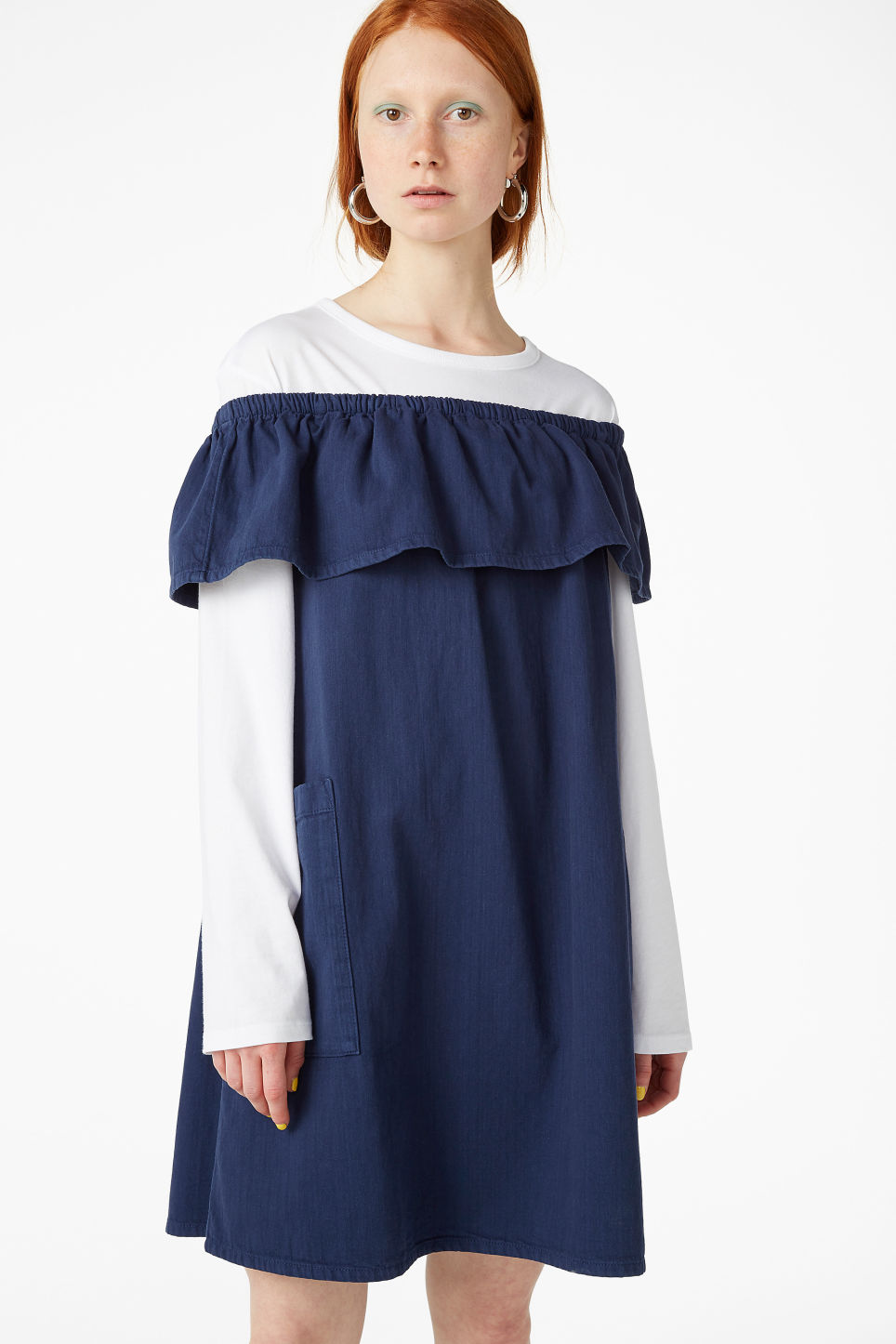 Model front image of Monki ruffled denim dress in blue