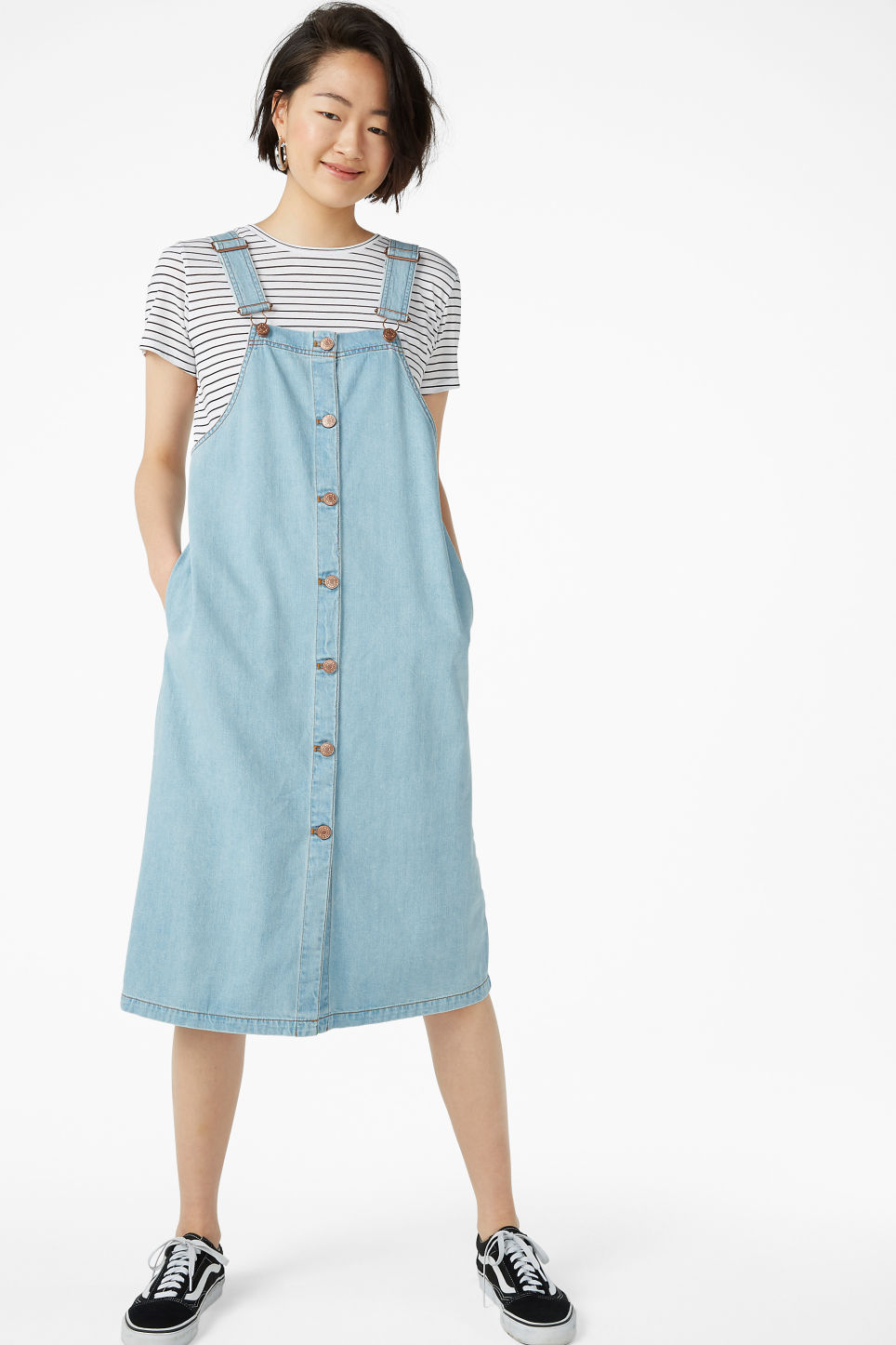 Model front image of Monki denim pinafore dress in blue