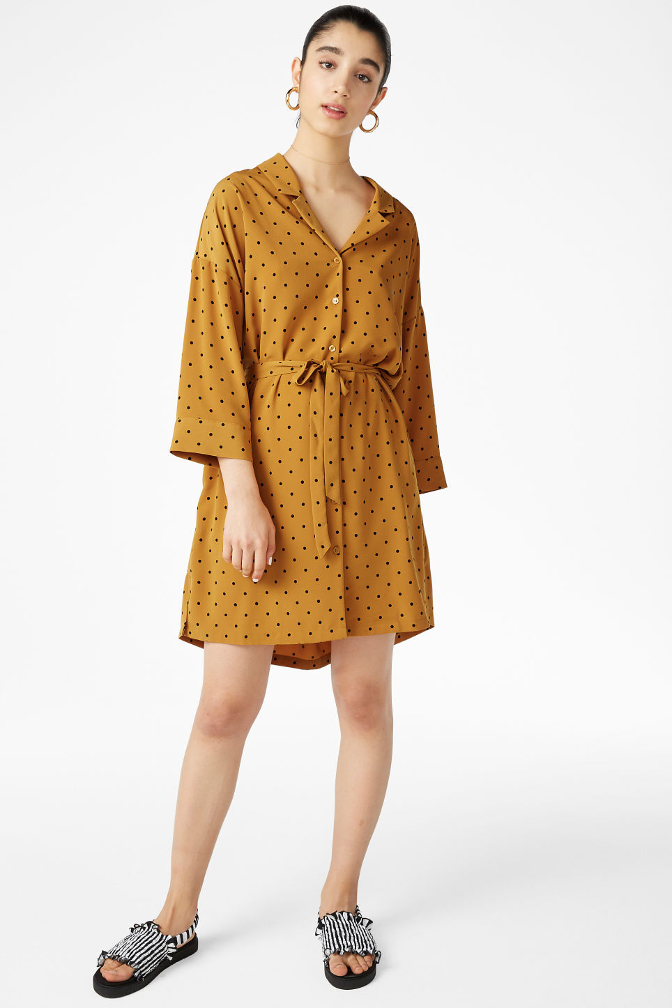 Model front image of Monki flowy shirt dress in yellow