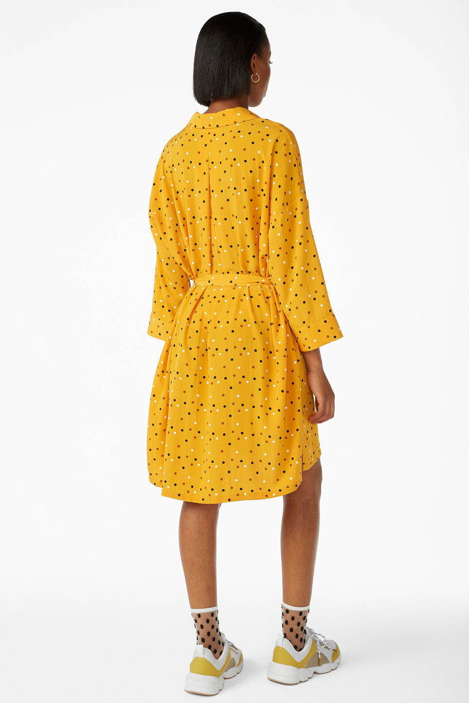 Model back image of Monki belted shirt dress in yellow