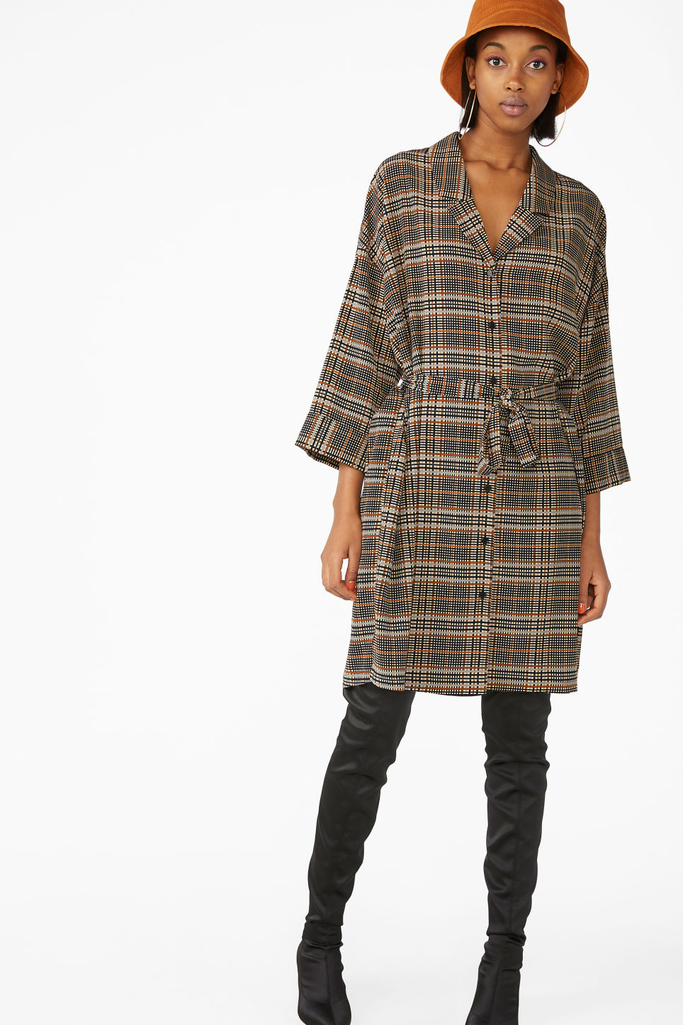 Model front image of Monki oversize belted shirt dress in beige