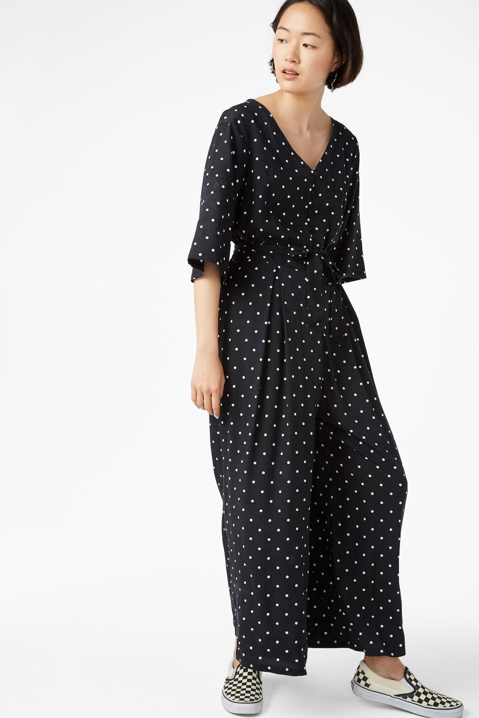 Model front image of Monki flowy jumpsuit in black