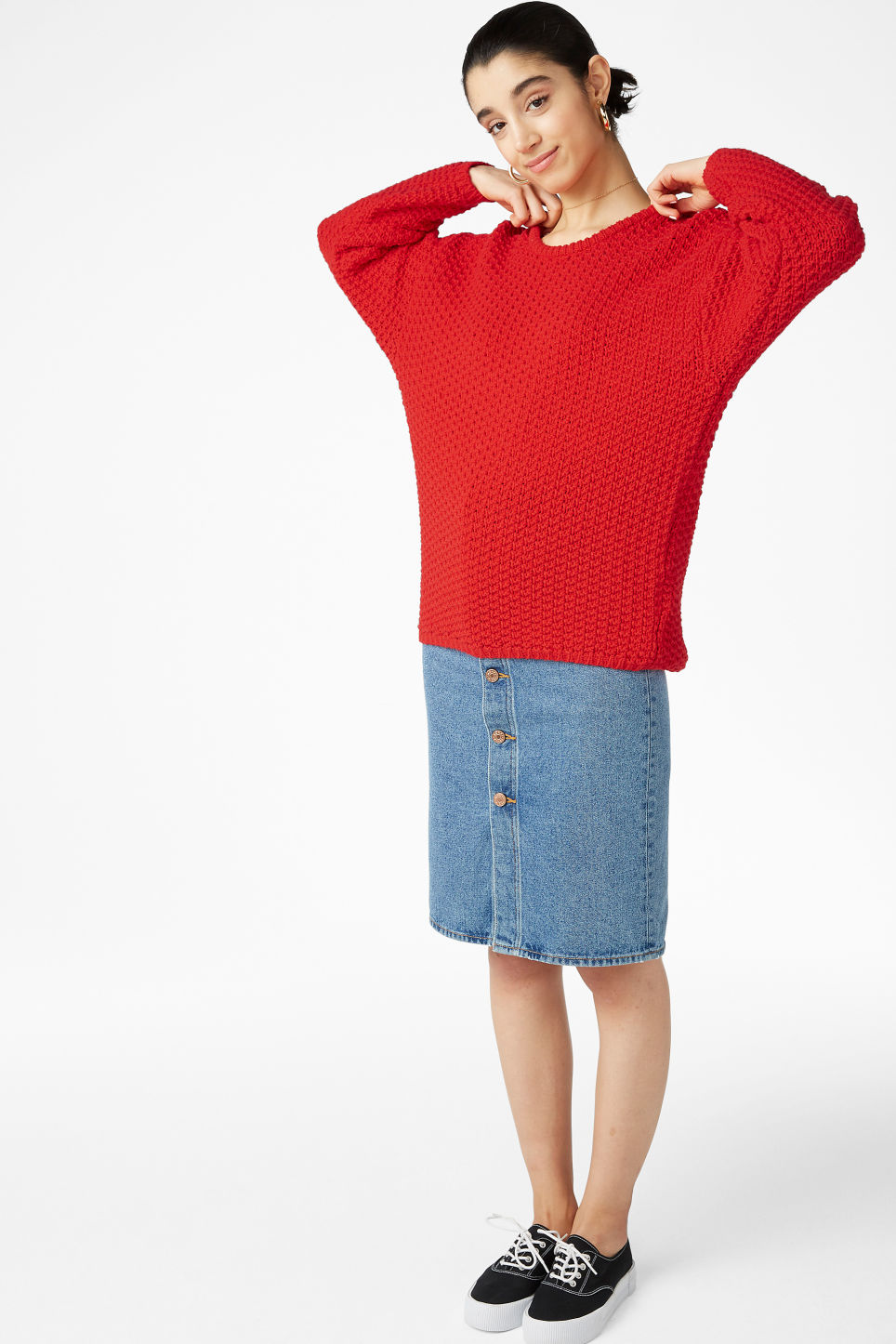 Model front image of Monki chunky low back sweater in red
