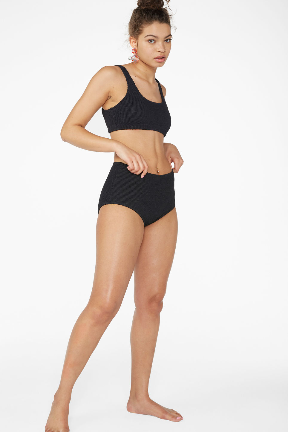 Model front image of Monki shirred bikini briefs in black