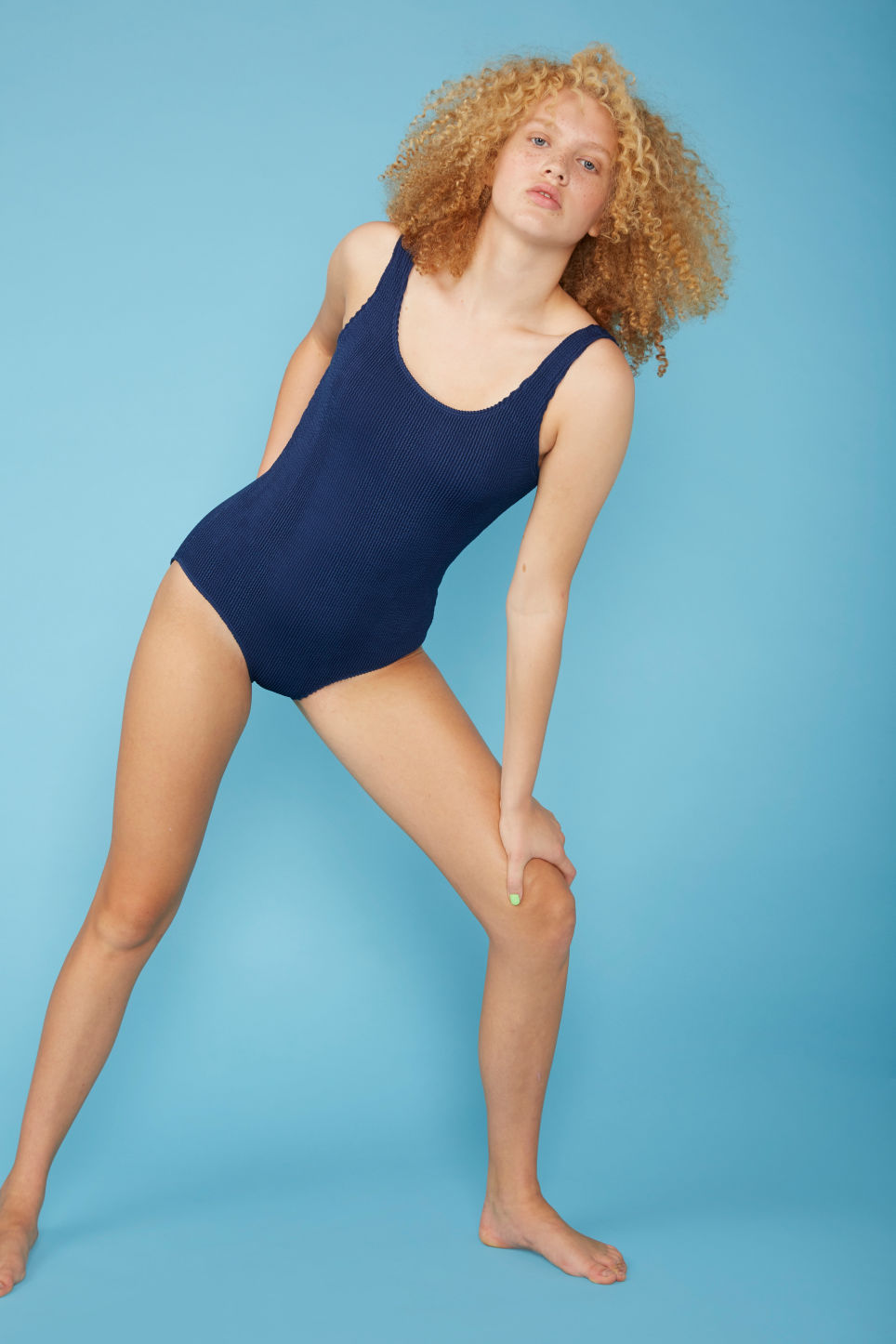 Model front image of Monki shirred swimsuit in blue