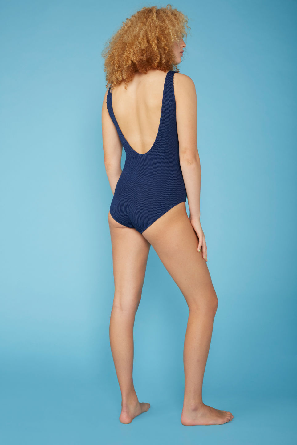 Model back image of Monki shirred swimsuit in blue