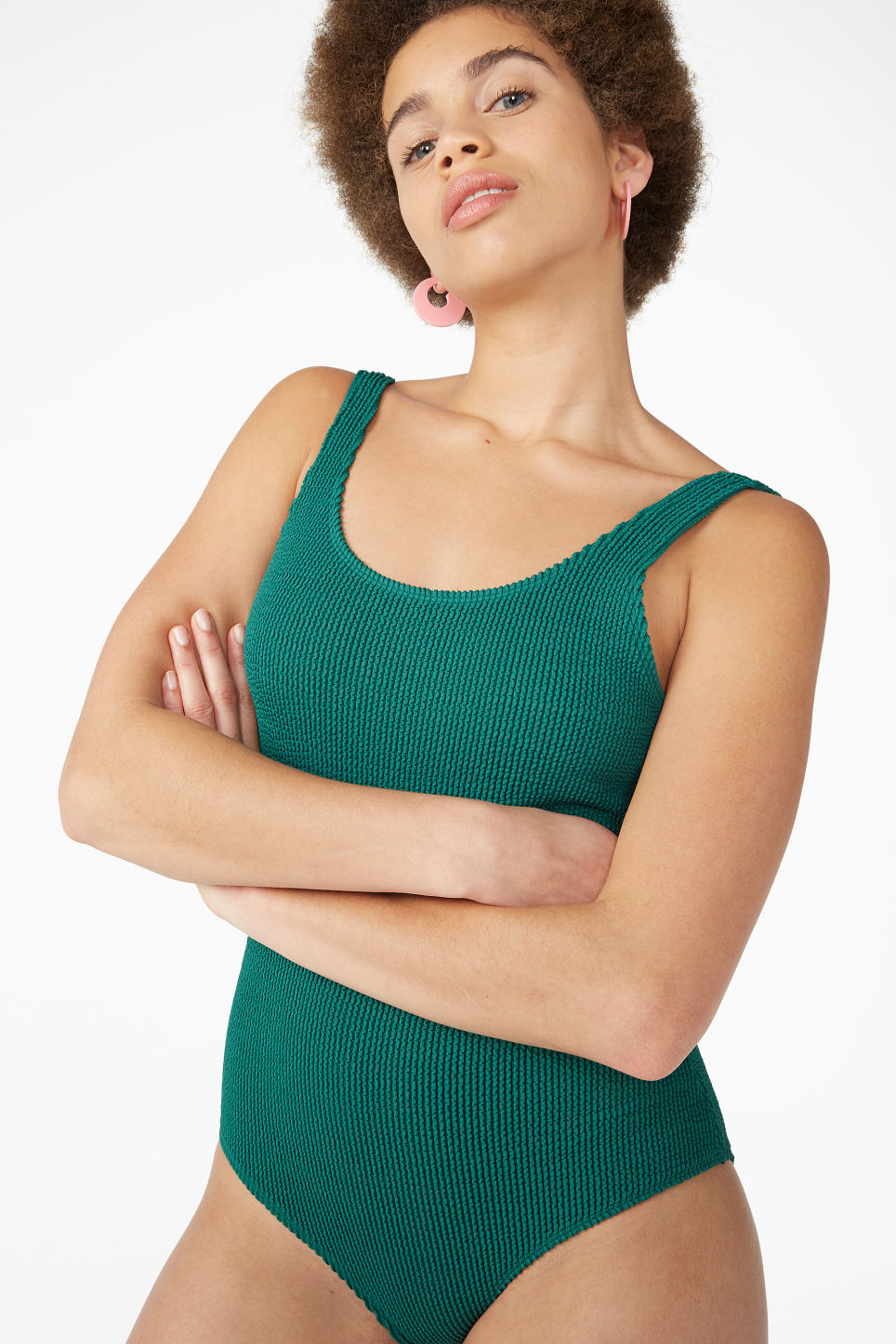 Model front image of Monki shirred swimsuit in green