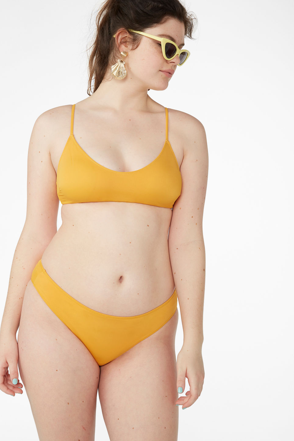 Model front image of Monki classic bikini briefs in yellow