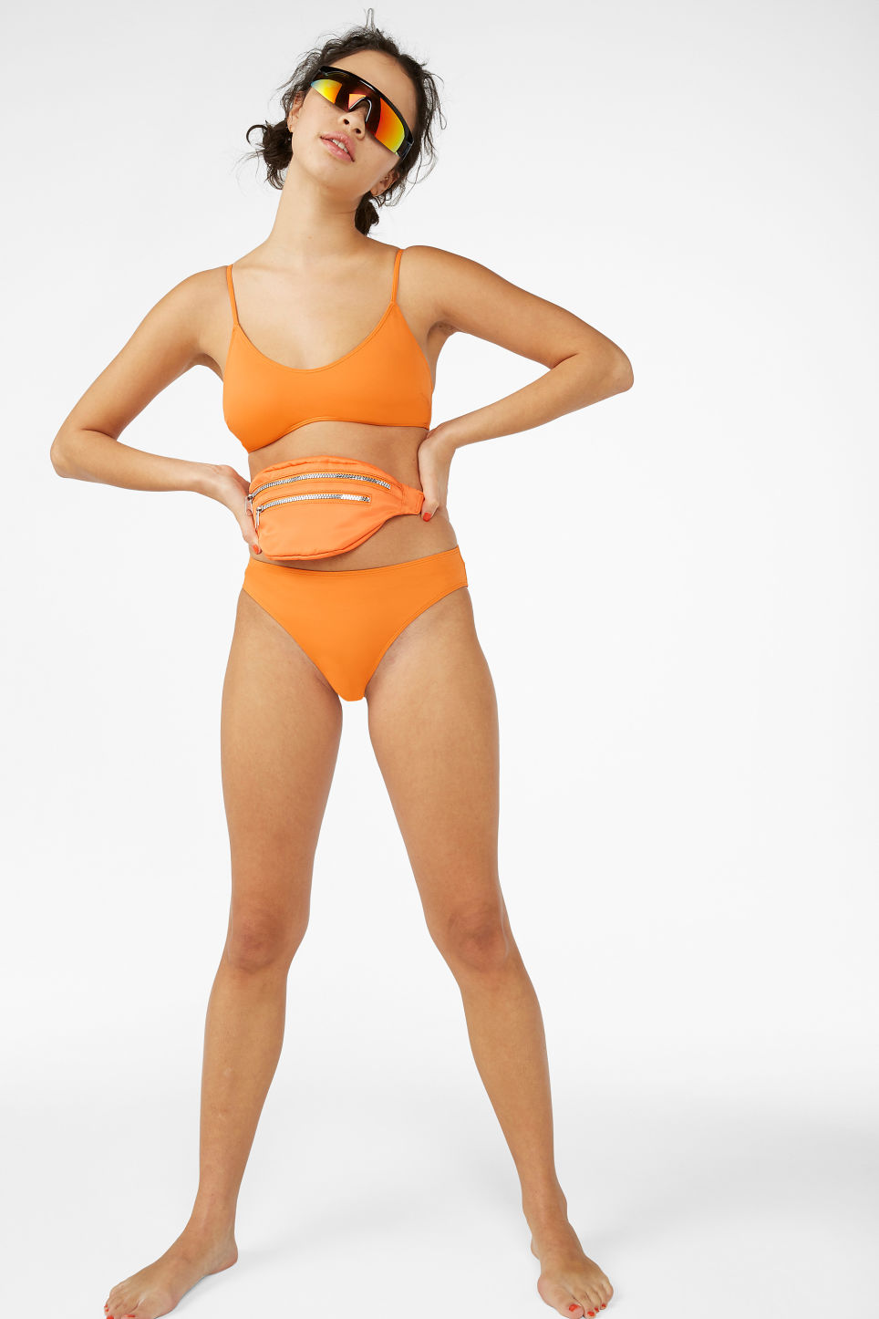 Model front image of Monki classic bikini briefs in orange