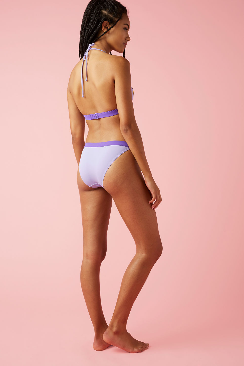 Model back image of Monki citrus bikini top in purple