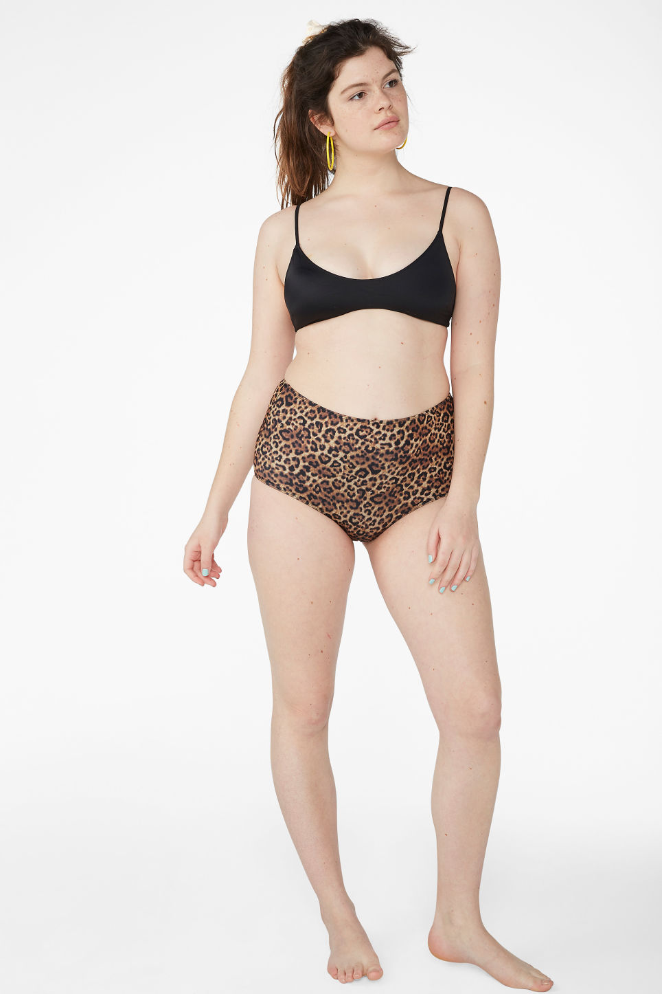 Model front image of Monki high-waisted bikini briefs in yellow