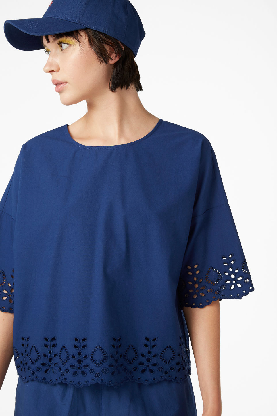 Model front image of Monki flowy blouse in blue