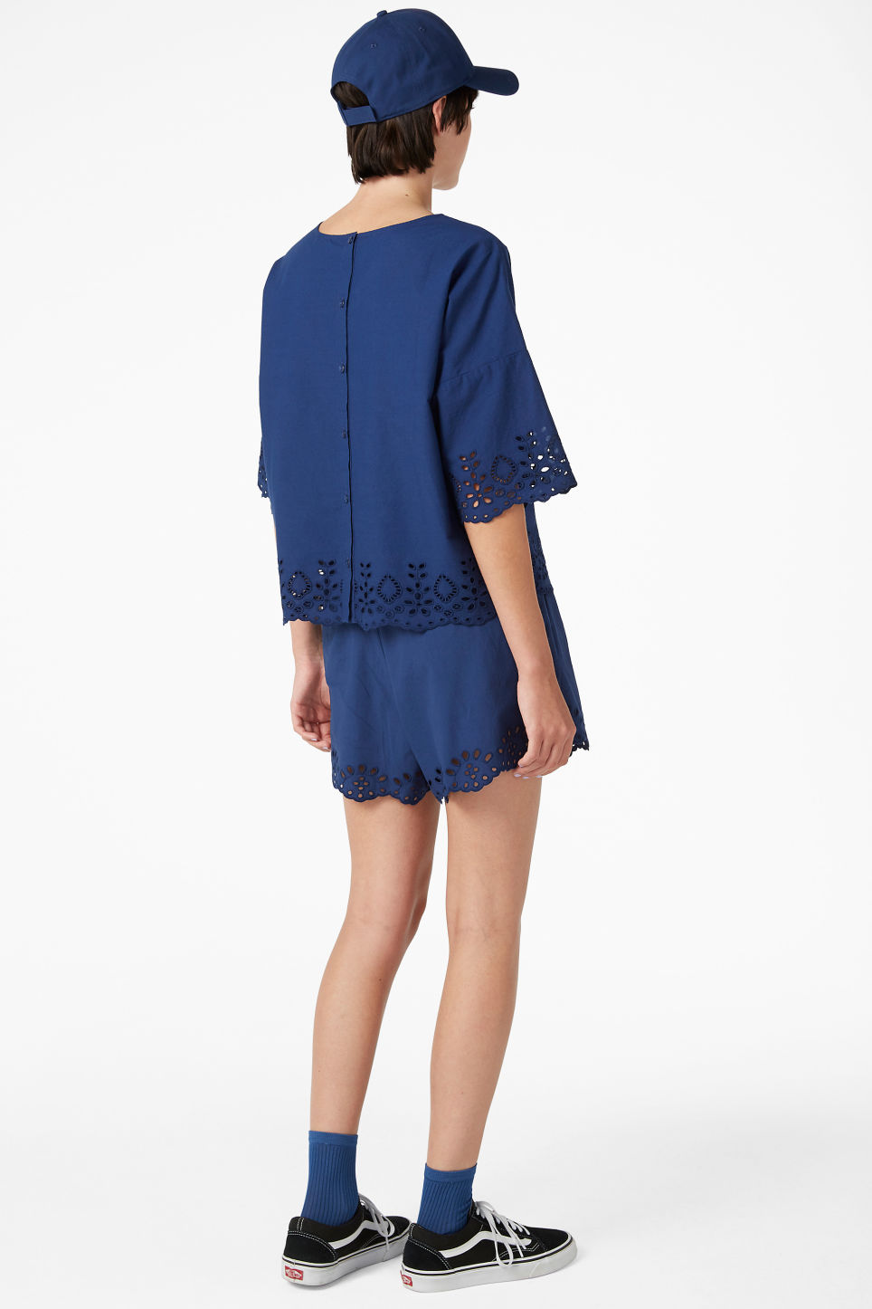 Model back image of Monki flowy blouse in blue