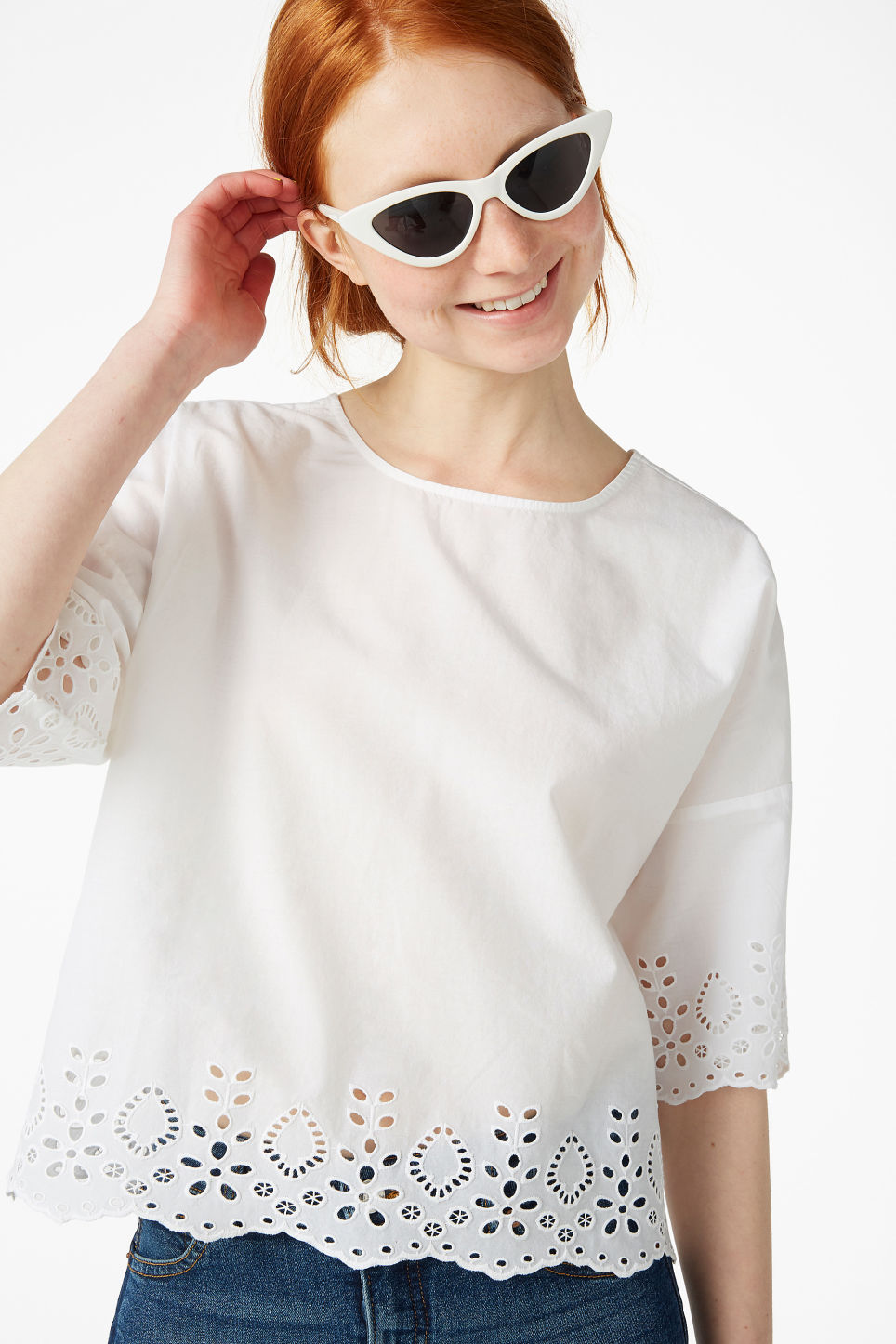 Model front image of Monki flowy blouse in white