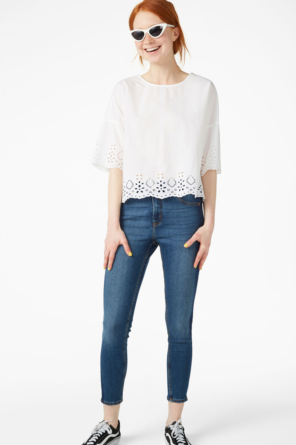 Model side image of Monki flowy blouse in white