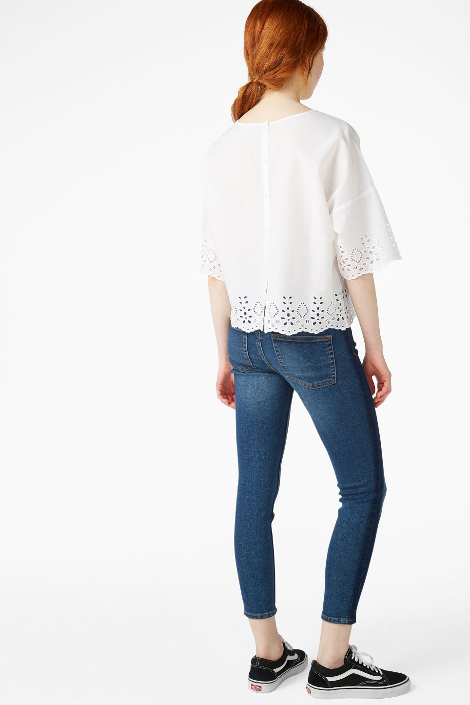 Model back image of Monki flowy blouse in white