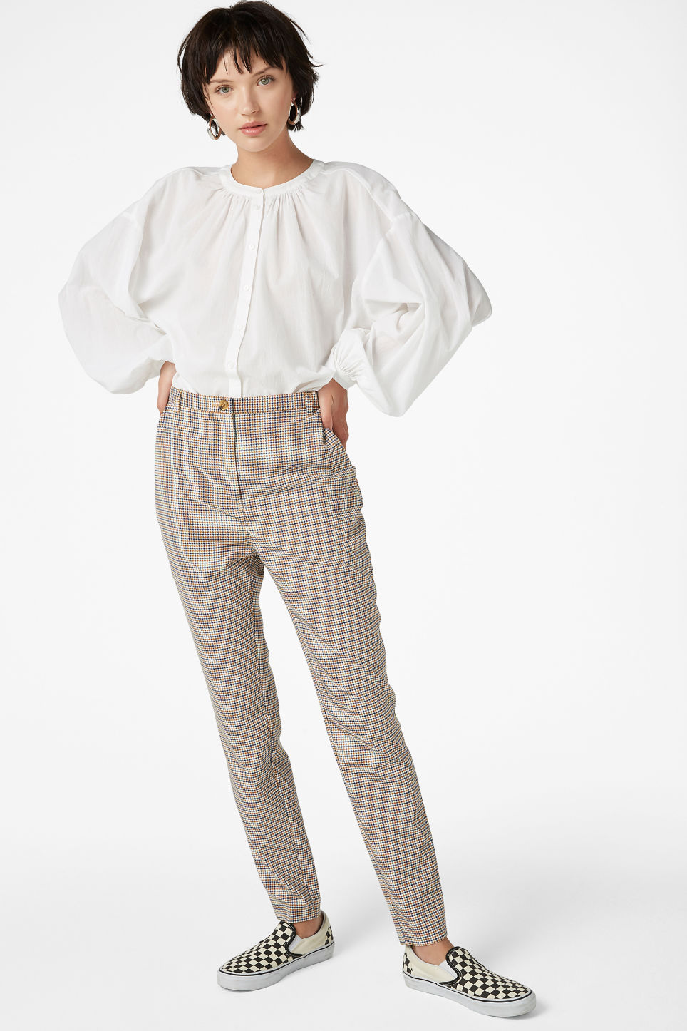 Model front image of Monki button up blouse in white