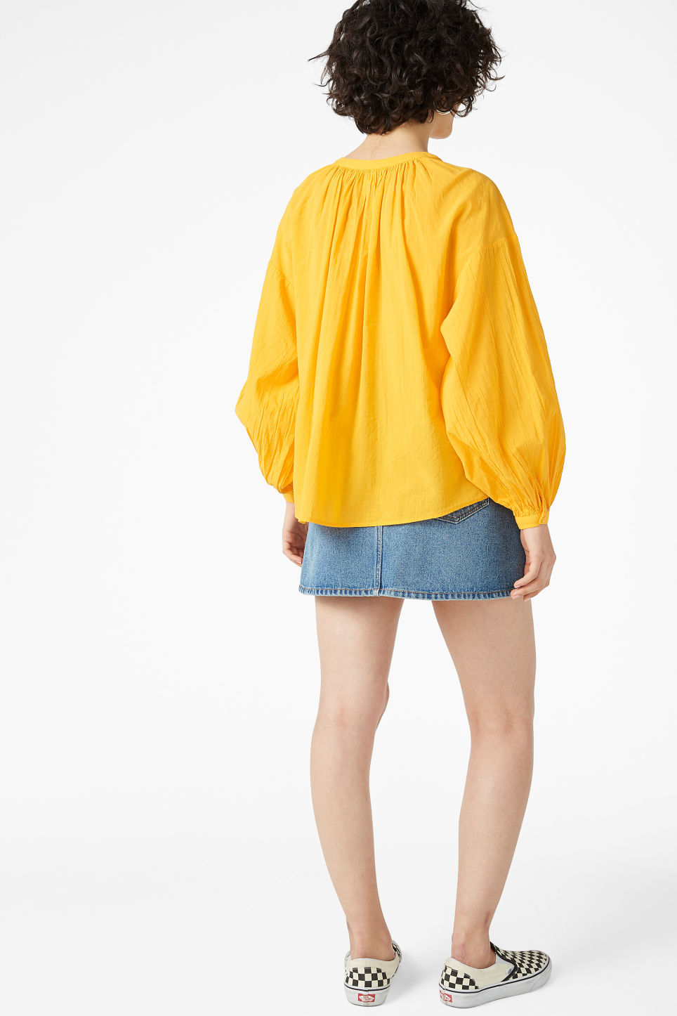 Model back image of Monki button up blouse in yellow