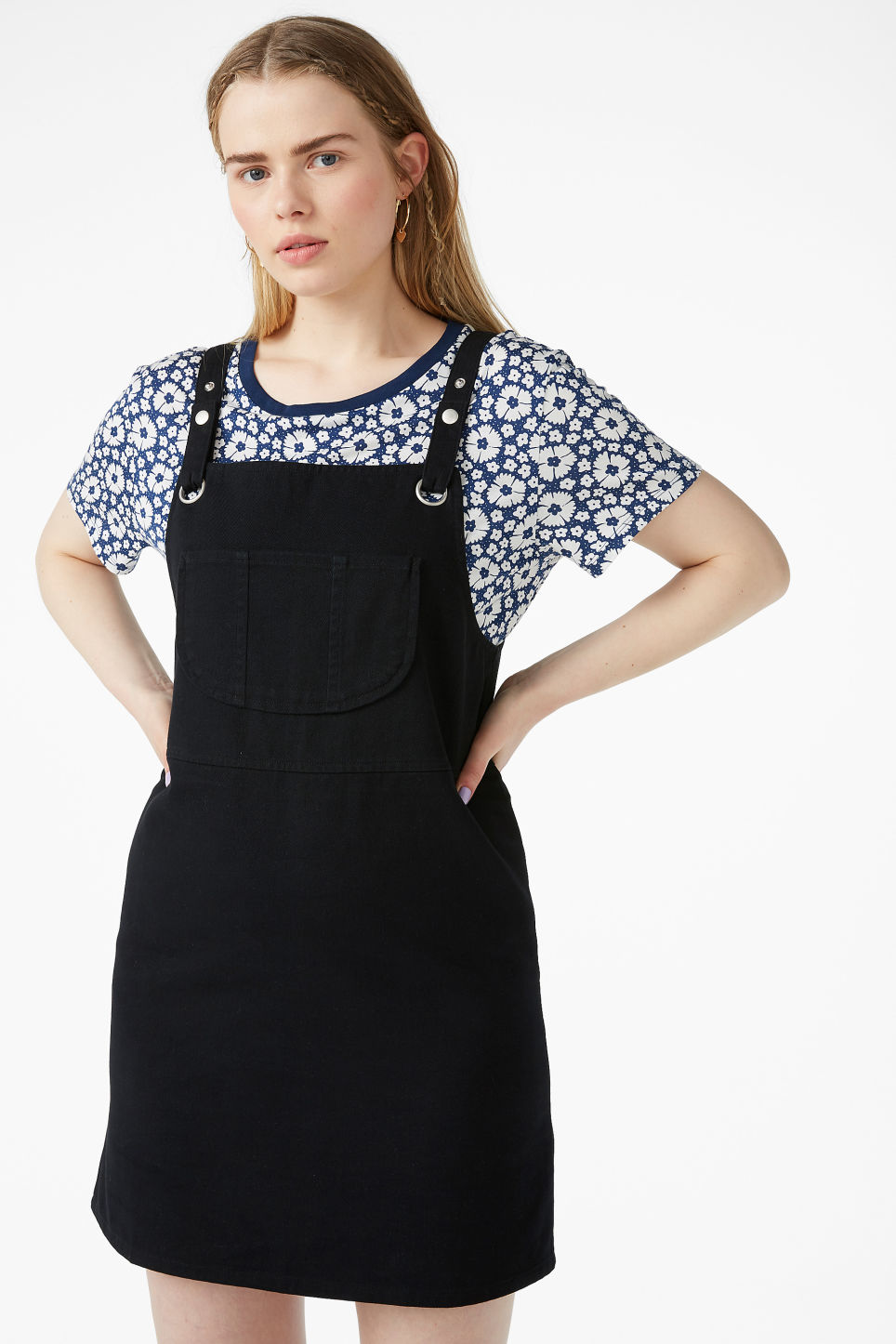 Model front image of Monki dungaree dress in black