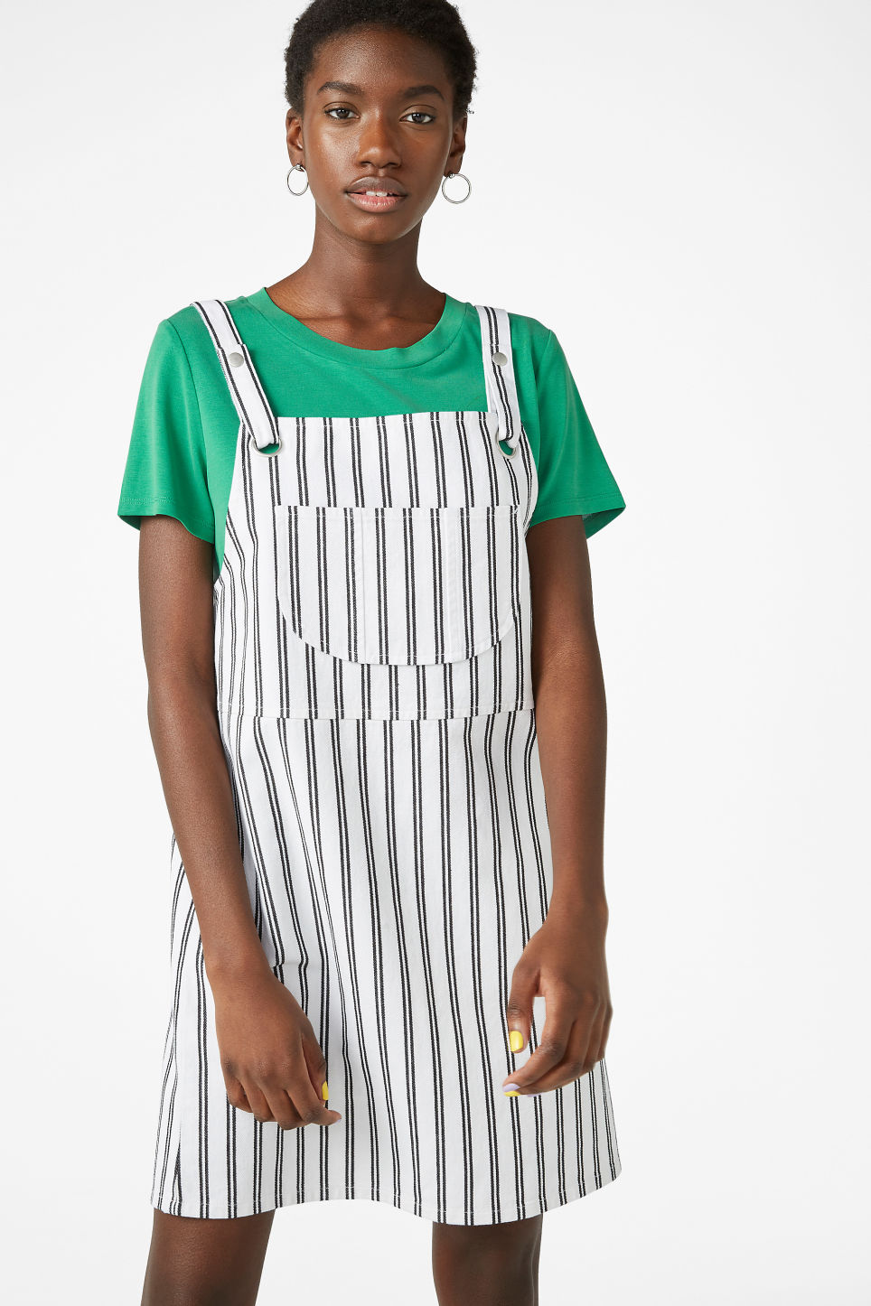 Model front image of Monki dungaree dress in white