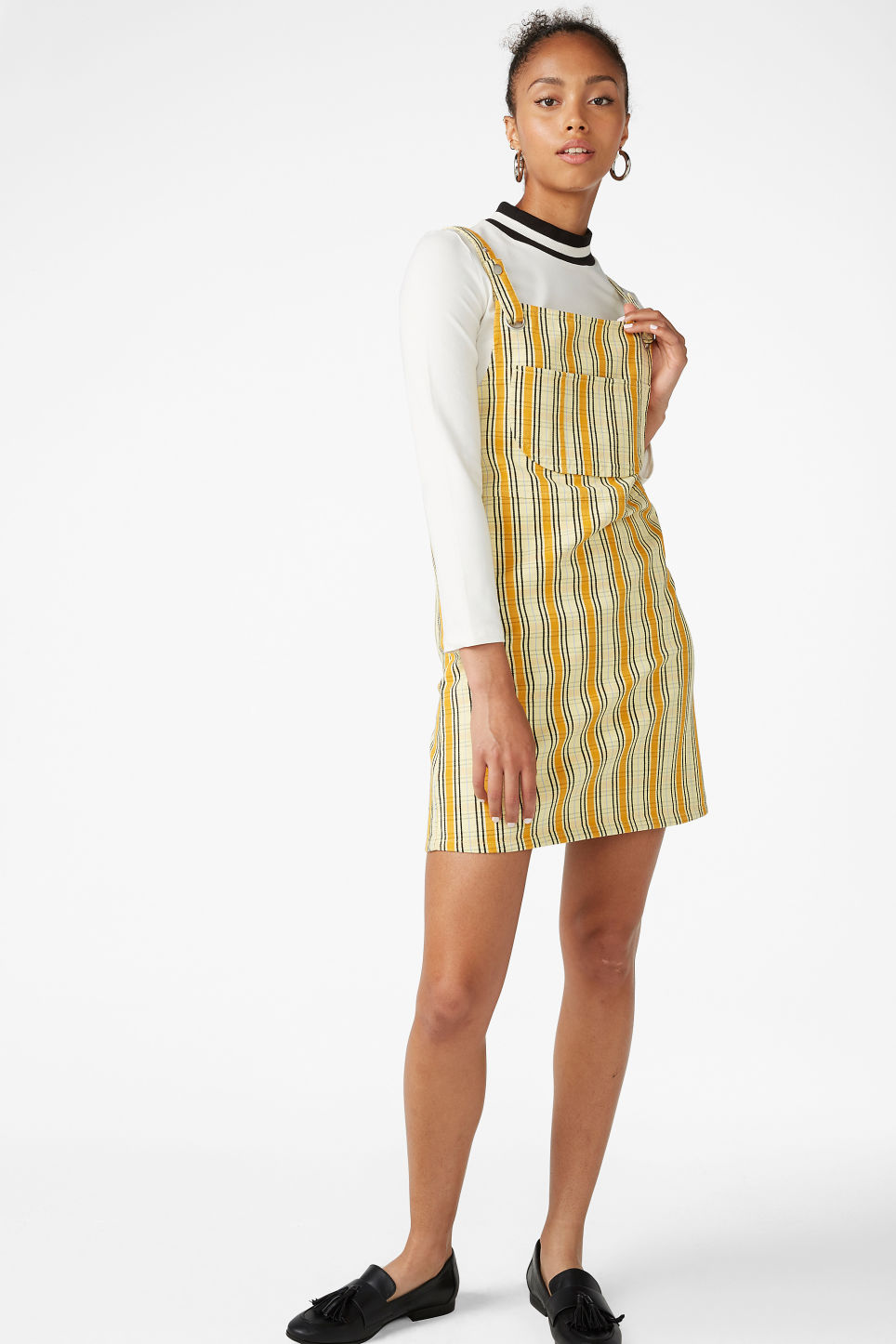 Model front image of Monki dungaree dress in yellow