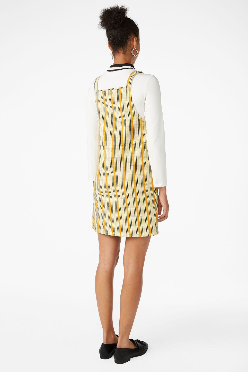 Model back image of Monki dungaree dress in yellow
