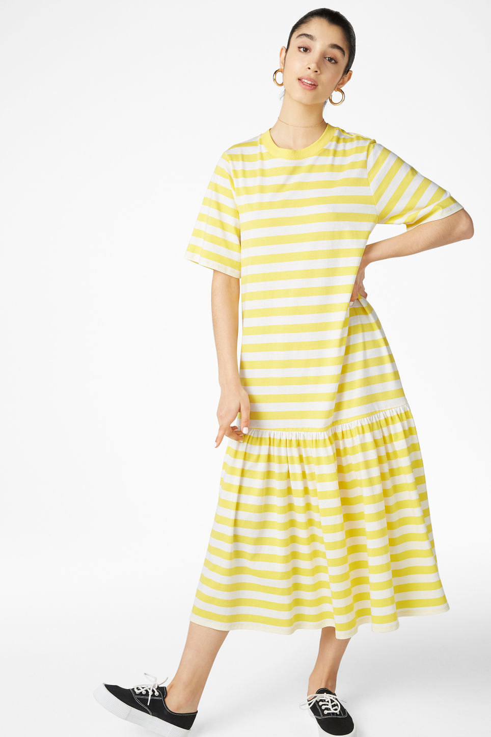 Model front image of Monki oversized dress in yellow