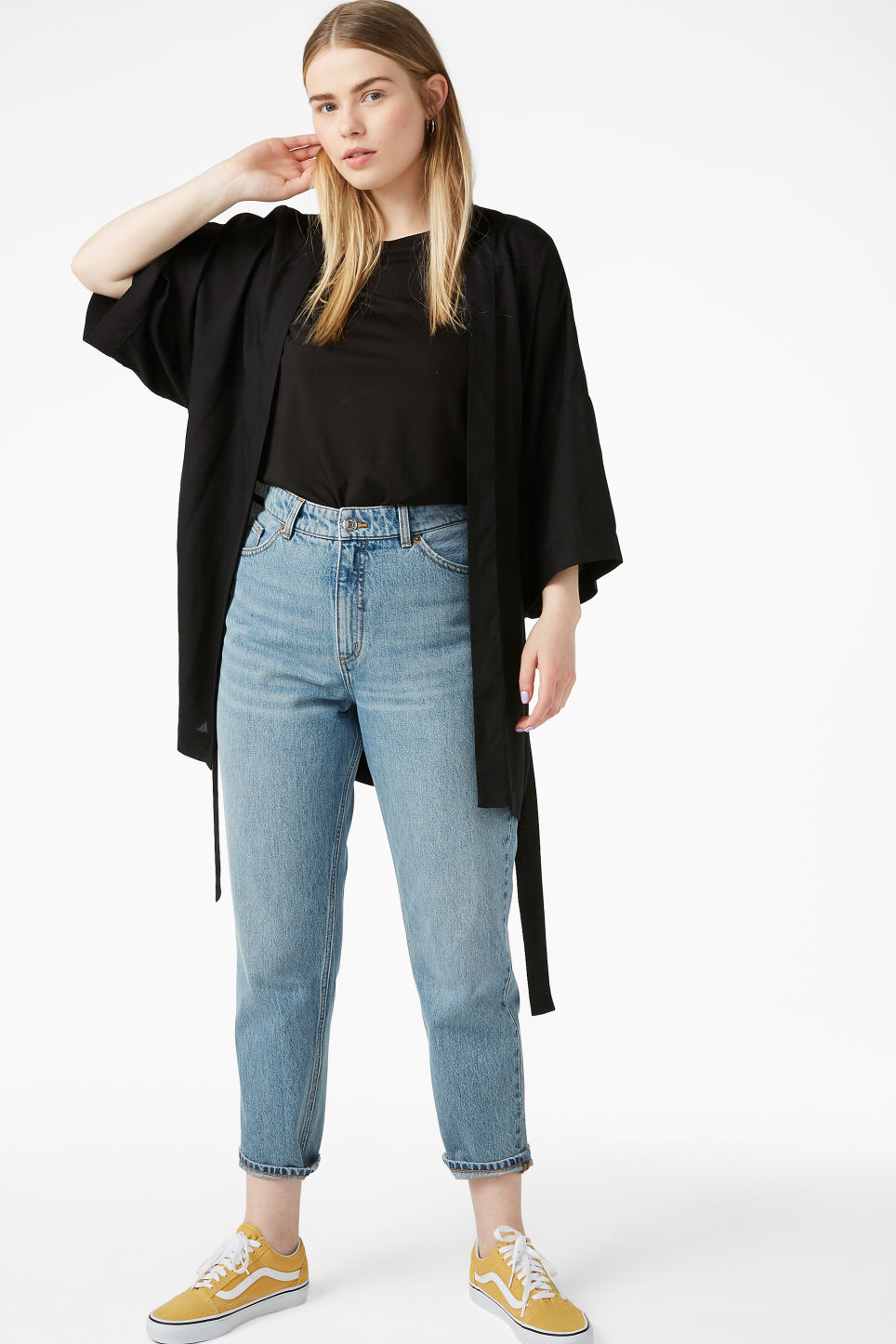 Model front image of Monki short kimono blouse in black