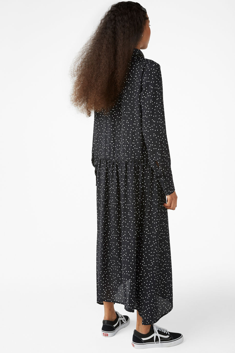 Model back image of Monki button up dress in black
