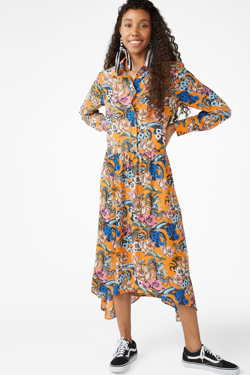Model front image of Monki button up dress in orange