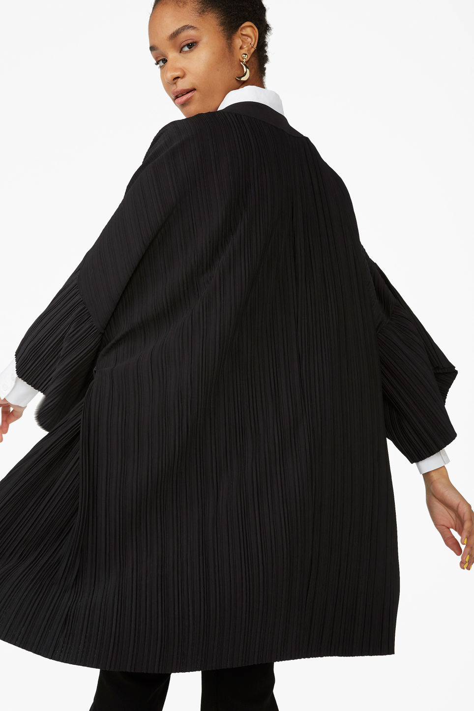 Model side image of Monki open kimono in black
