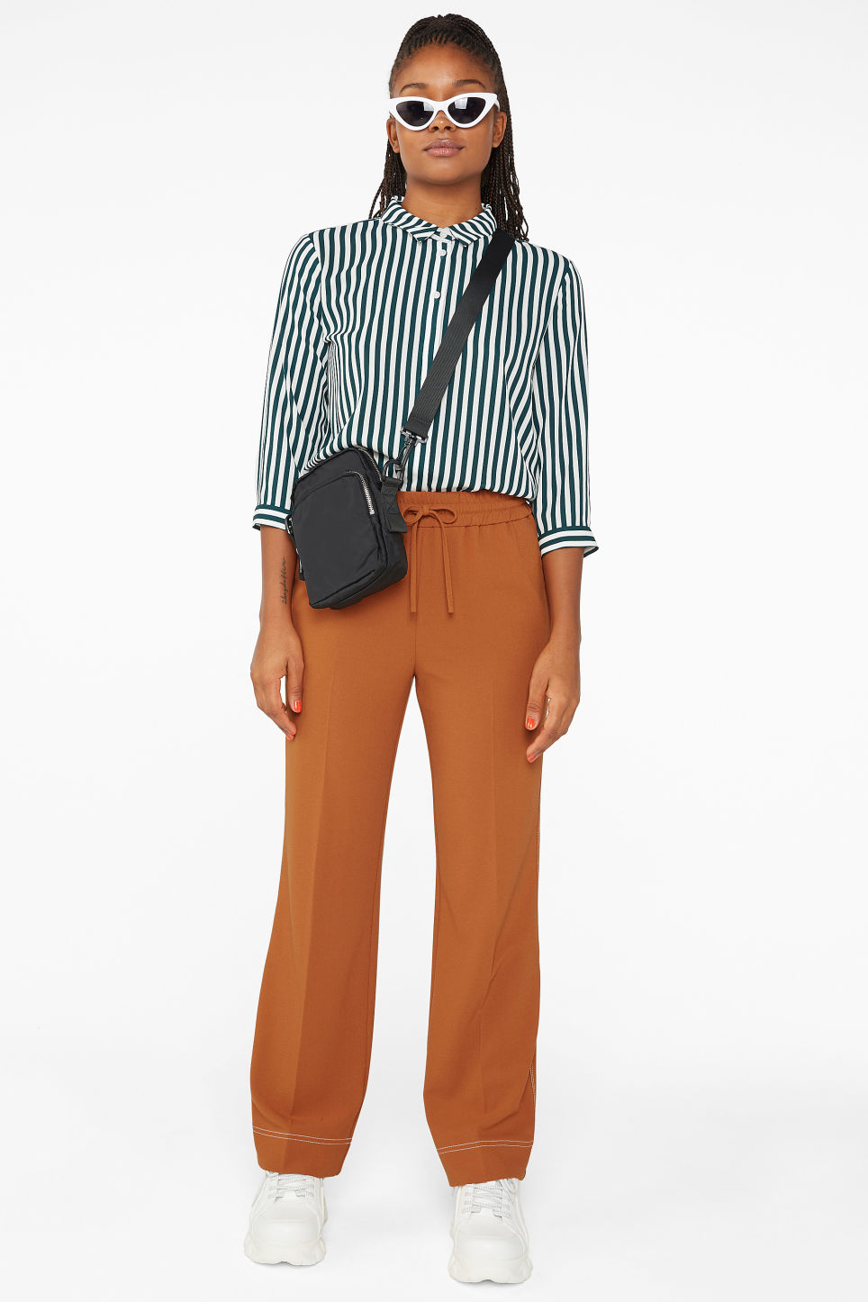 Model front image of Monki dressy trousers in orange