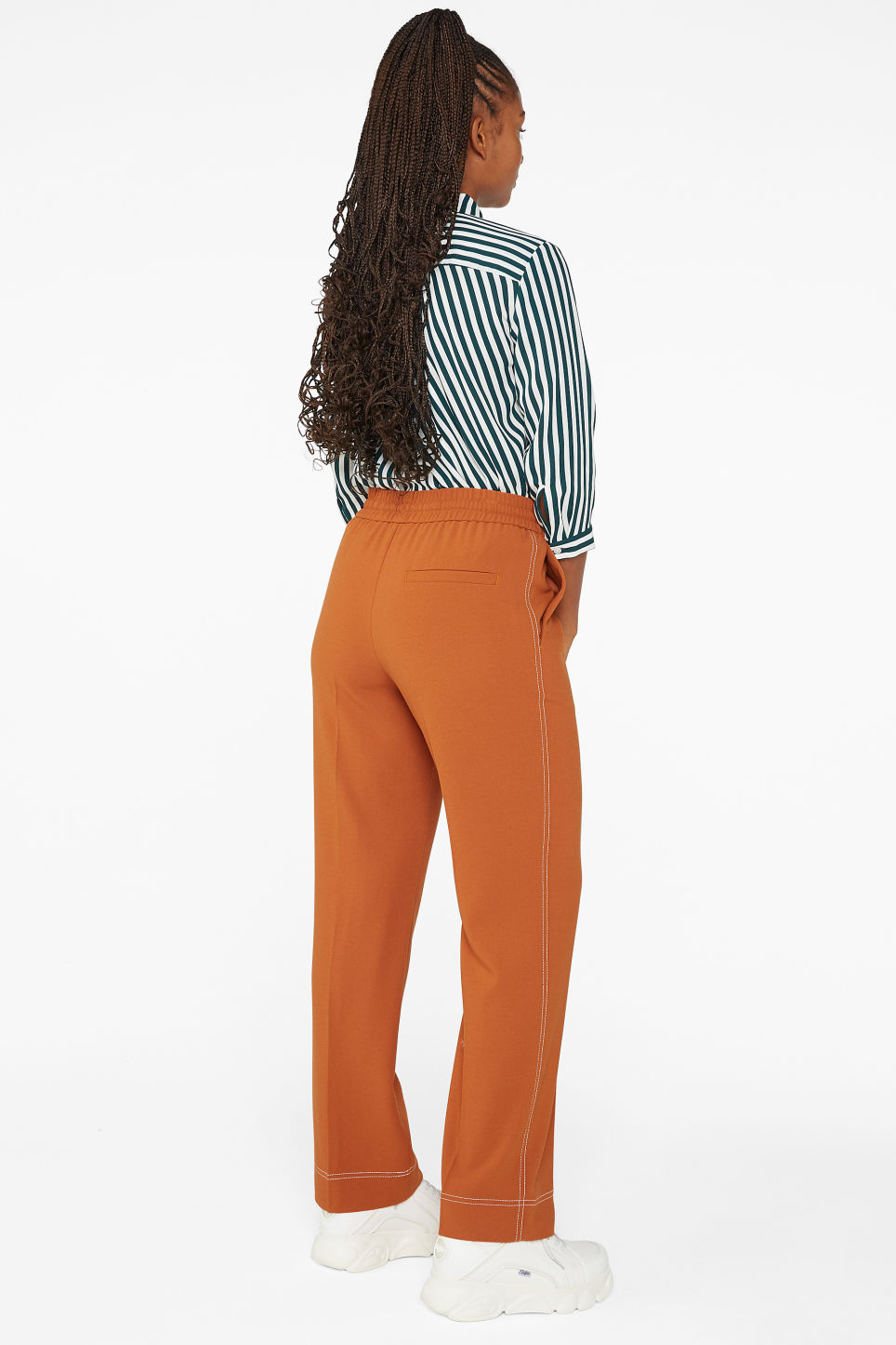 Model back image of Monki dressy trousers in orange