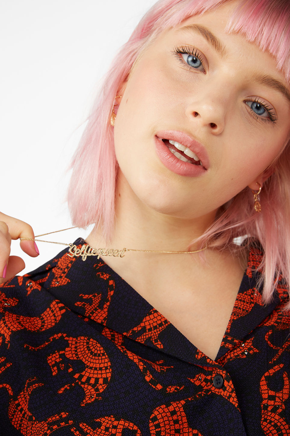 Model front image of Monki word necklace in gold