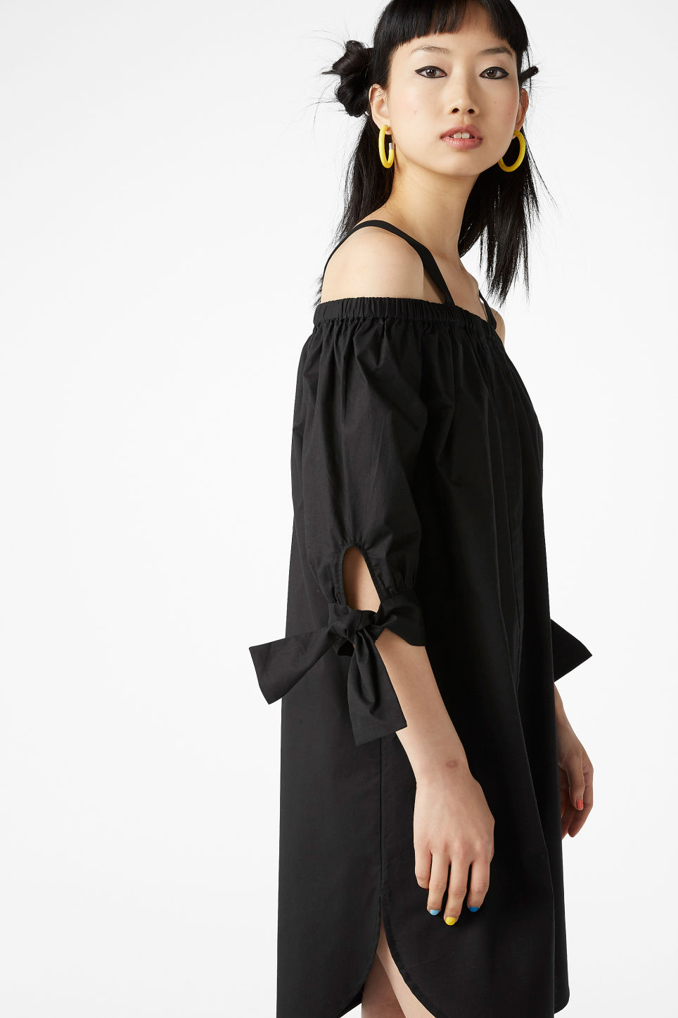 Model front image of Monki cold-shoulder dress in black