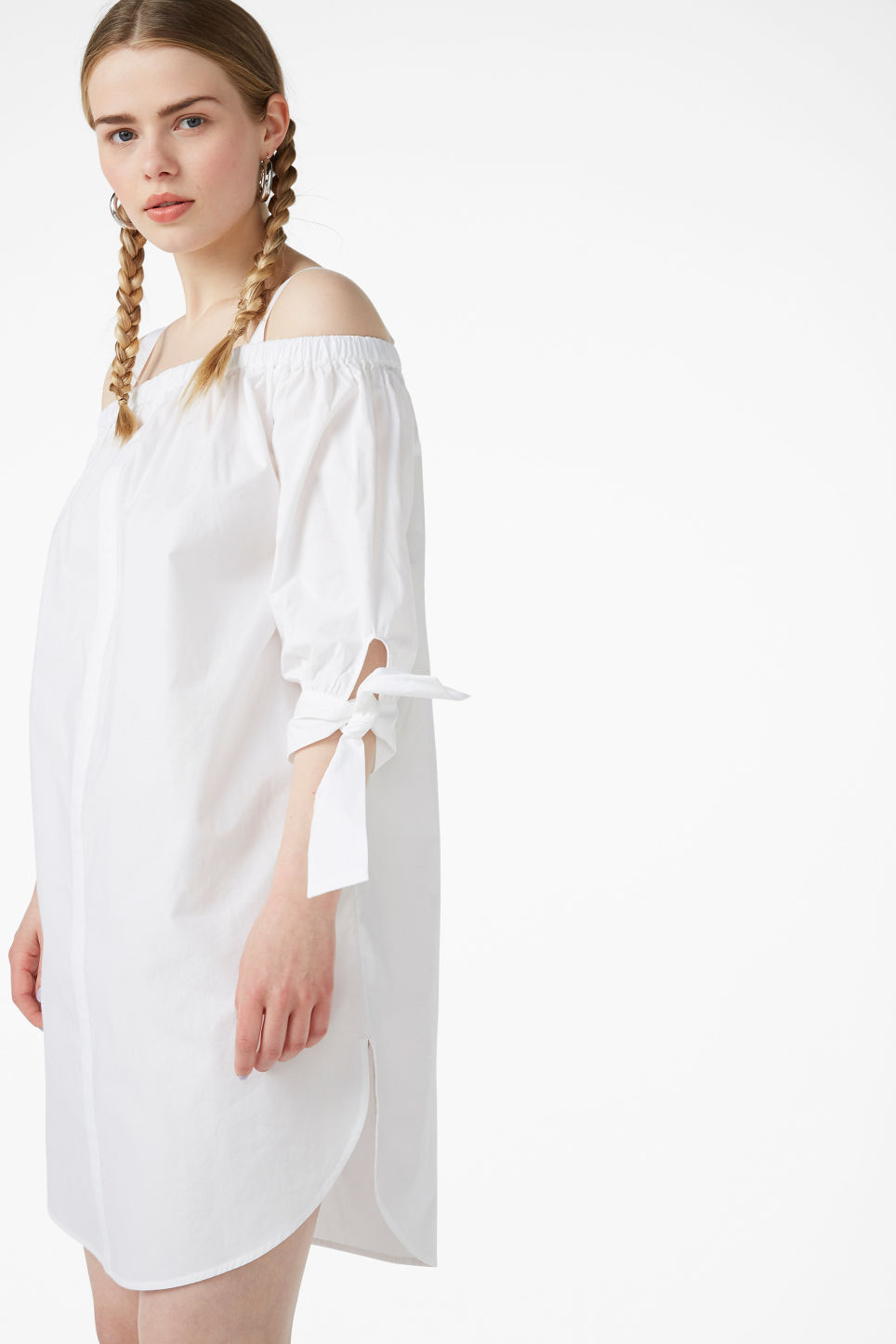 Model front image of Monki cold-shoulder dress in white