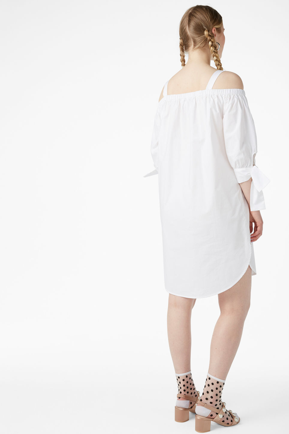 Model back image of Monki cold-shoulder dress in white