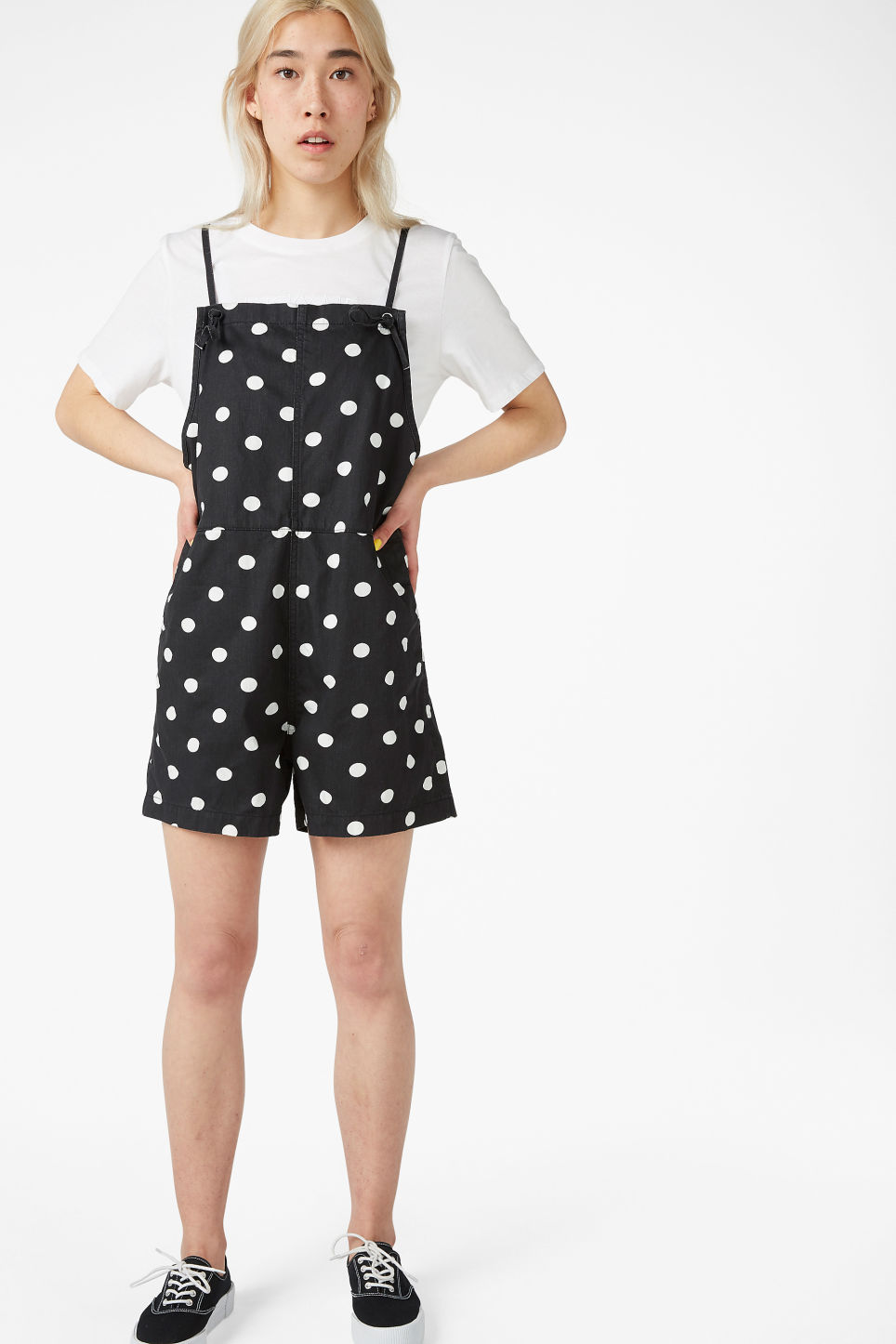 Model front image of Monki denim playsuit in black