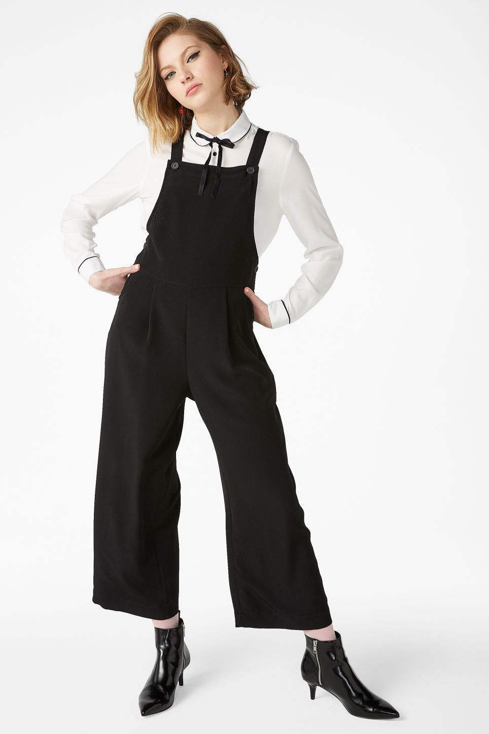 Model front image of Monki wide leg dungarees in black