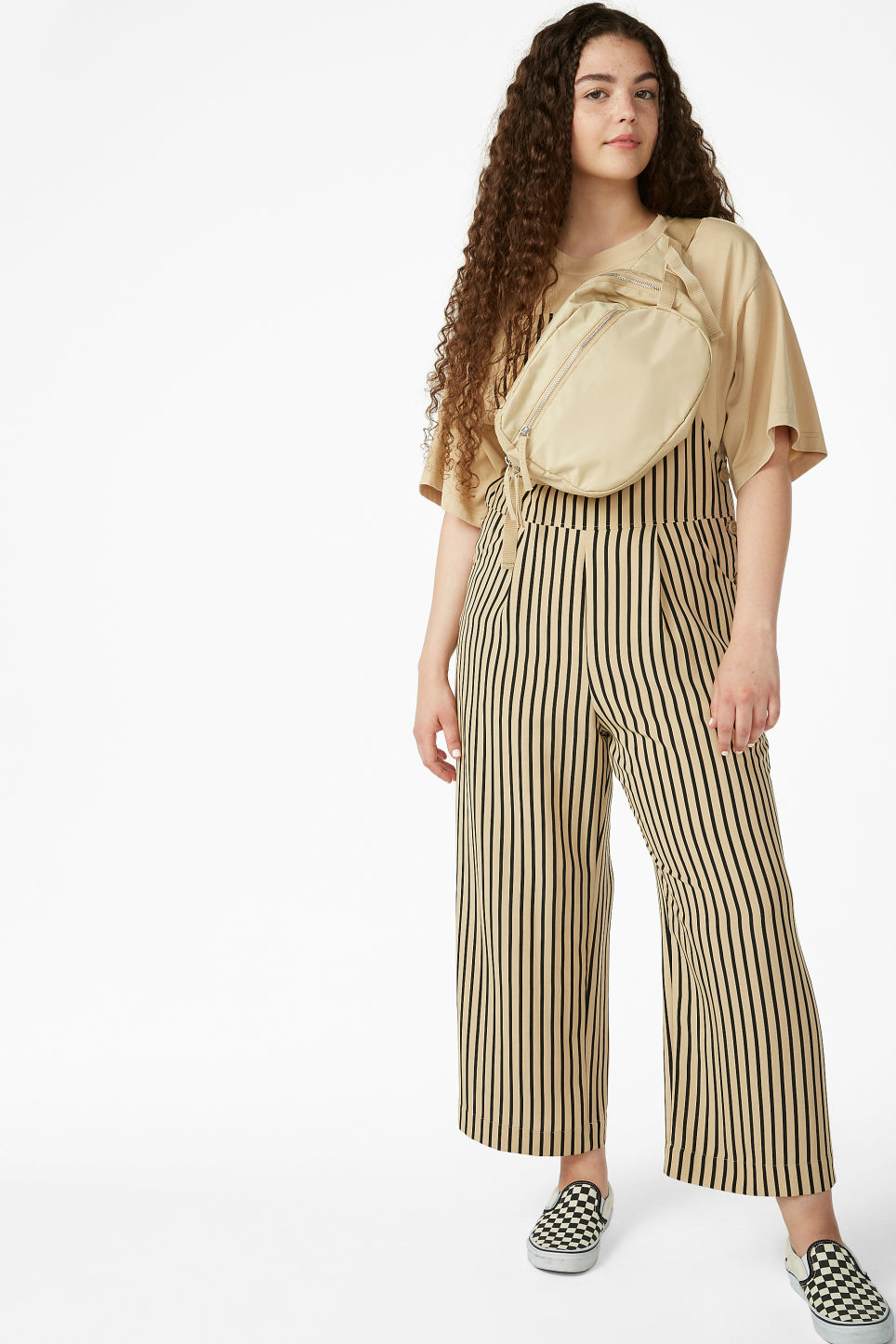 Model front image of Monki wide leg dungarees in beige