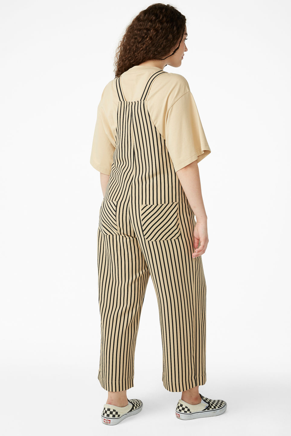 Model back image of Monki wide leg dungarees in beige