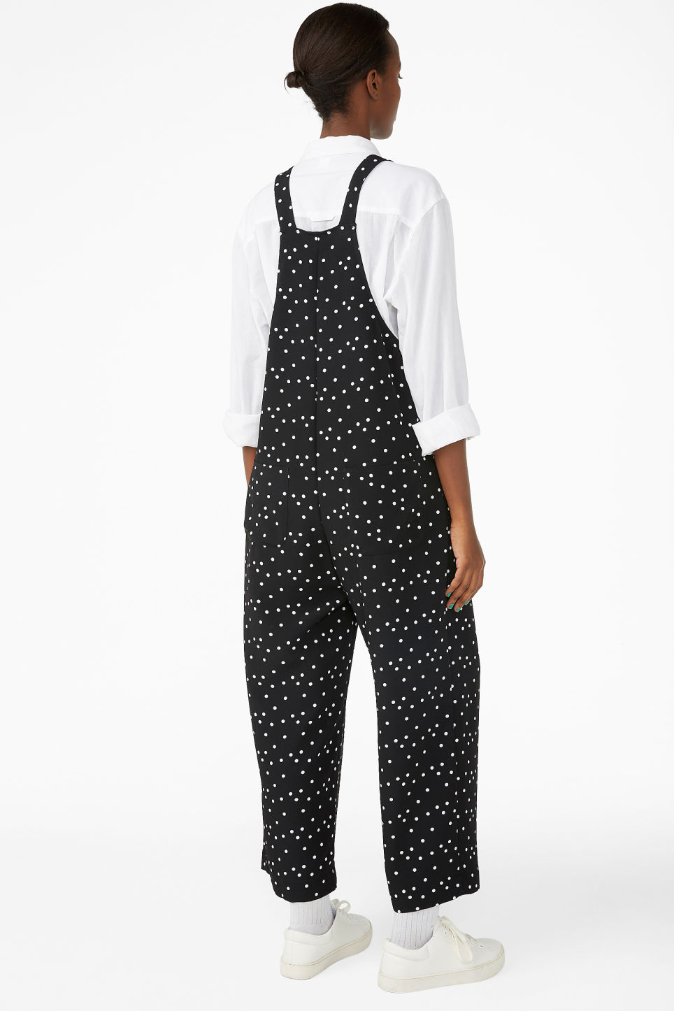 Model back image of Monki wide leg dungarees in black