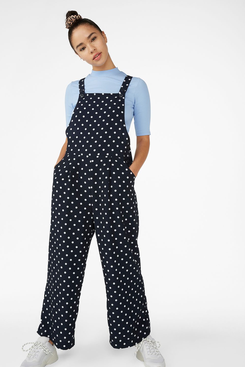 Model front image of Monki wide leg dungarees in blue