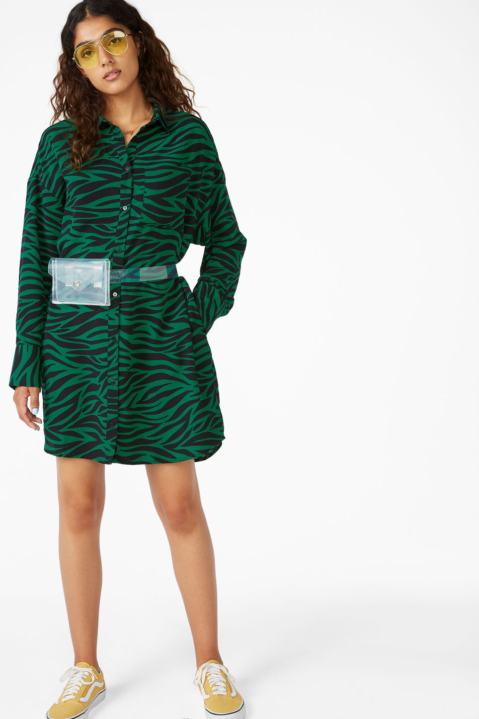 Model front image of Monki oversized shirt dress in green