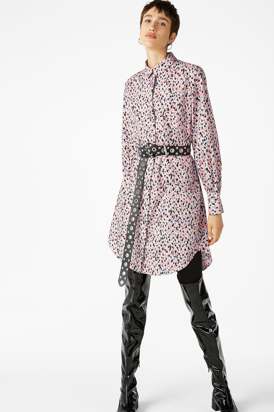 Model front image of Monki oversized shirt dress in pink