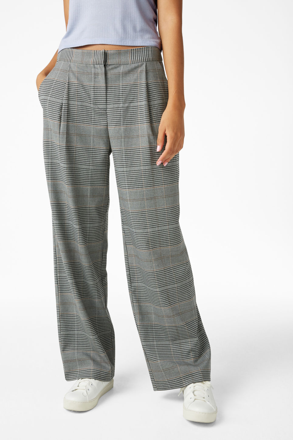Model side image of Monki wide leg trousers in grey