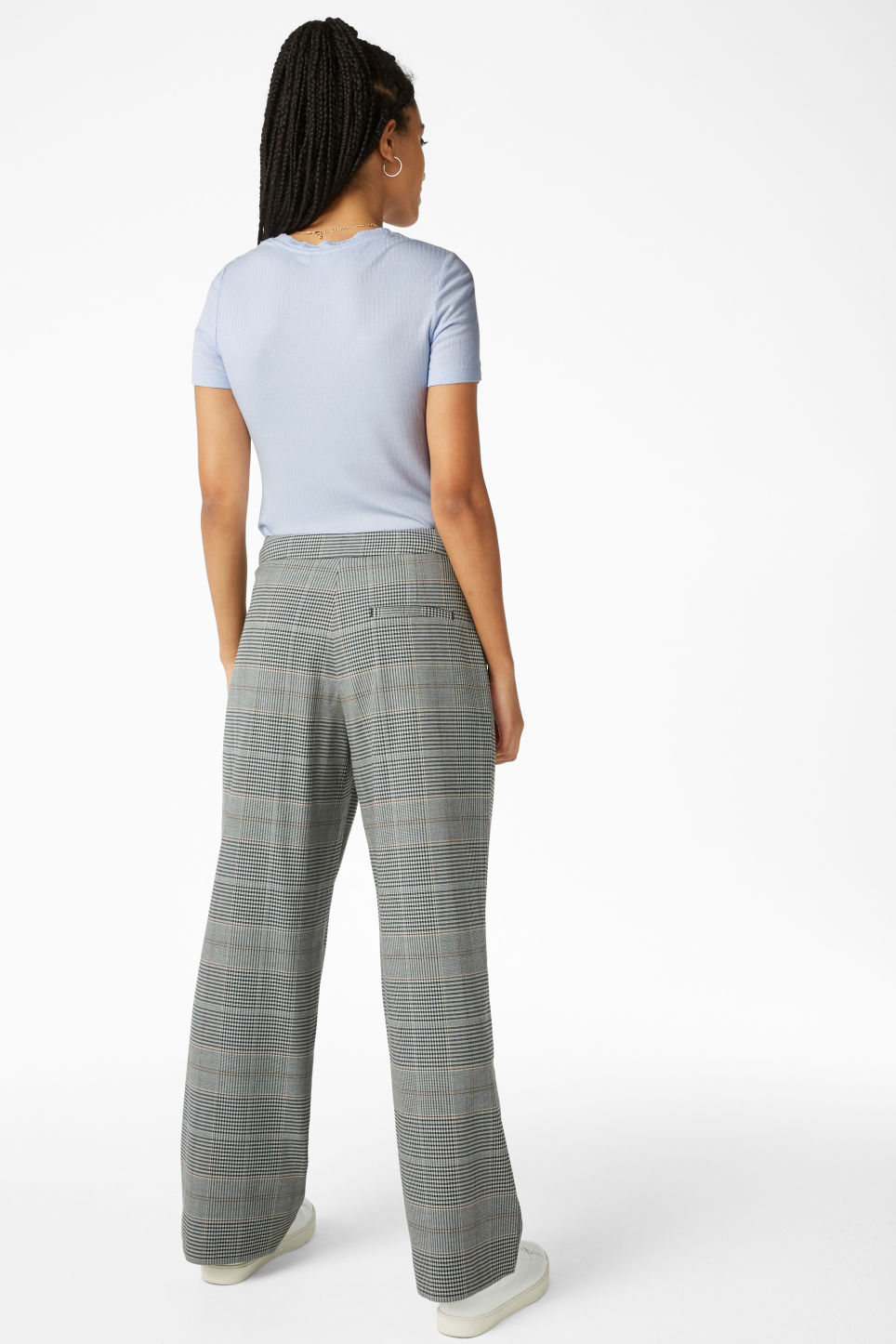 Model back image of Monki wide leg trousers in grey